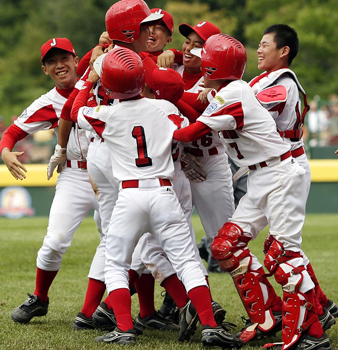 Toshinori Wakai scored from first with two out in the sixth inning to give a joyous Japan team a 5-4 victory that eliminated Venezuela. The South Americans made two errors on the play.