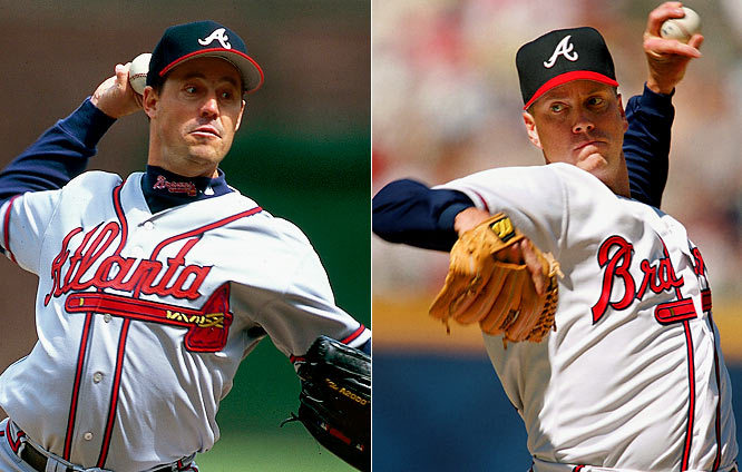 Both Maddux and Glavine are 300-game winners and unquestionable Hall of Famers. From 1993 to 2002, the duo compiled an absurd combined record of 347-160. Maddux won three straight Cy Youngs from 1993 to '95 and Glavine took one home in 1998.