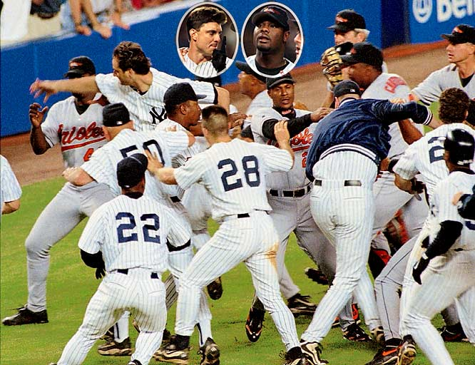 """After giving up an eighth-inning, three-run home run to Bernie Williams, Orioles reliever Armando Benitez drilled Tino Martinez in the back with a pitch, setting off a 10-minute brawl that included a wild sucker punch on Benitez by the Yanks' Darryl Strawberry. """"It was the worst brawl I've seen in 25 years,"""" George Steinbrenner said. The Yankees ended up trading for Benitez in 2003."""