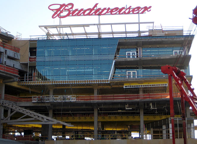 The Budweiser Roof Deck sits atop the Twins Administrative Offices in left field.