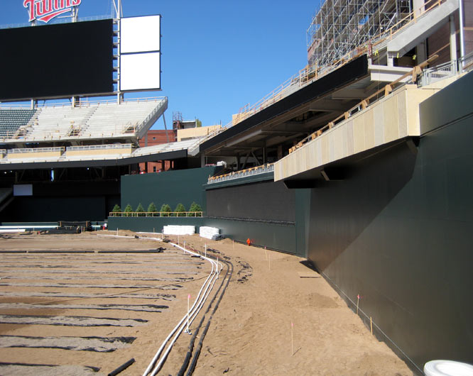 Field heating and irrigation systems are installed under the right field overhang.