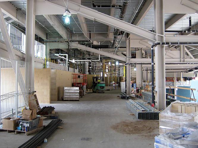 Work progresses on the Pavillion seating area in center field.