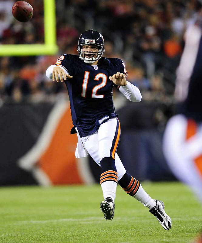 With no veterans like Kyle Orton, Rex Grossman or Brian Griese around to fall back on, the Bears will turn to Caleb Hanie in relief of Jay Cutler.