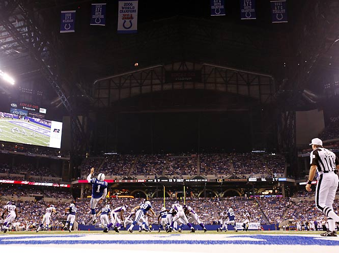 Unlike the Cowboys, the Colts don't have a problem with punts hitting the videoboards at Lucas Oil Stadium because they put theirs at the back of the facility.