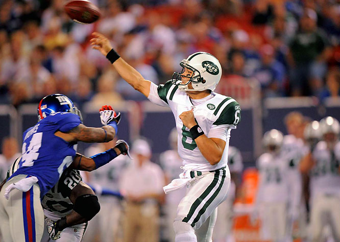 After being named the Jets starting quarterback, Mark Sanchez played like one. The rookie out of USC completed a spectacular 31-yard touchdown pass  to Chansi Stuckey and put 20 points on the board in 2 1/2 quarters, giving new coach Rex Ryan his first win.