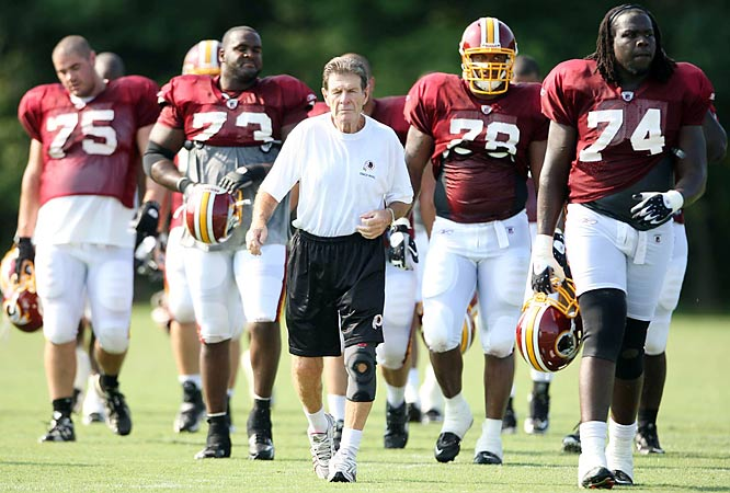 Offensive line coach Joe Bugel will need to fill in the right side of his line during camp.  Guard Randy Thomas is still recovering from injuries and tackle Stephon Heyer had a sub-par 2008 season, so Jeremy Bridges may have the opportunity to step in at one of those positions.