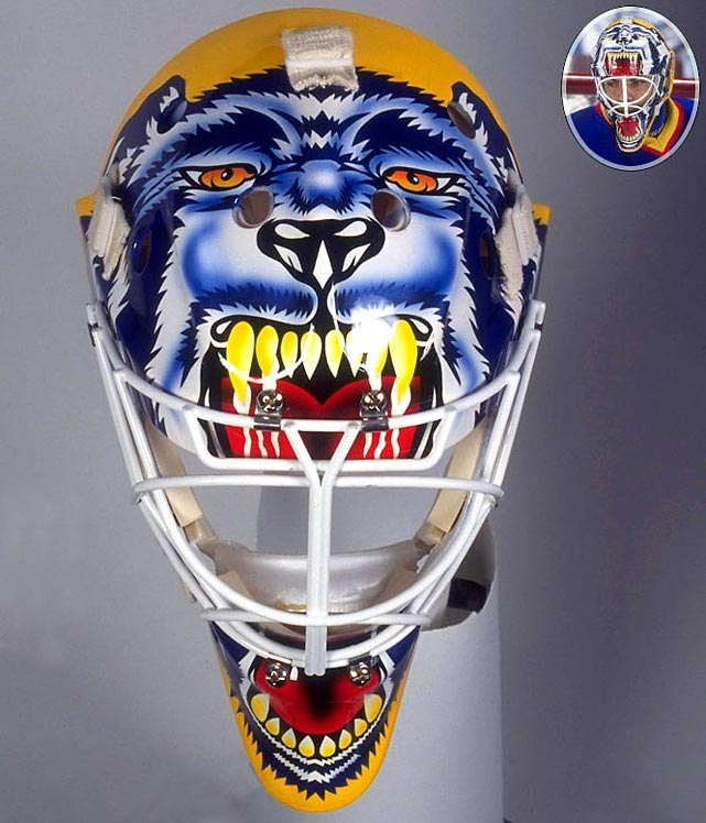 "Joseph is immediately recognizable on the ice for his masks featuring a snarling dog, drawing inspiration from the Stephen King novel ""Cujo,"" which also happened to be his nickname, derived from the first two letters of his first and last names.  While the rabid beast has appeared with more detail on Joseph's different teams over the years, it all started with his first team, the Blues."