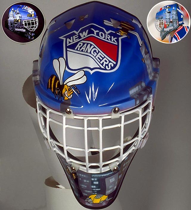 "When your nickname is ""Beezer"" and you play in New York City, why not go with some bees buzzing around the city skyline?  Having played nine full seasons with the Rangers, ""Beezer"" only got to wear this mask during his final season with the team, which was also the team's 53rd consecutive season without a Stanley Cup, before winning in '94.  The armadillo on the chin is the mark of mask maker and artist Don Straus of Armadilla Mask.  At the time, his masks were bigger and rounder than any worn before."