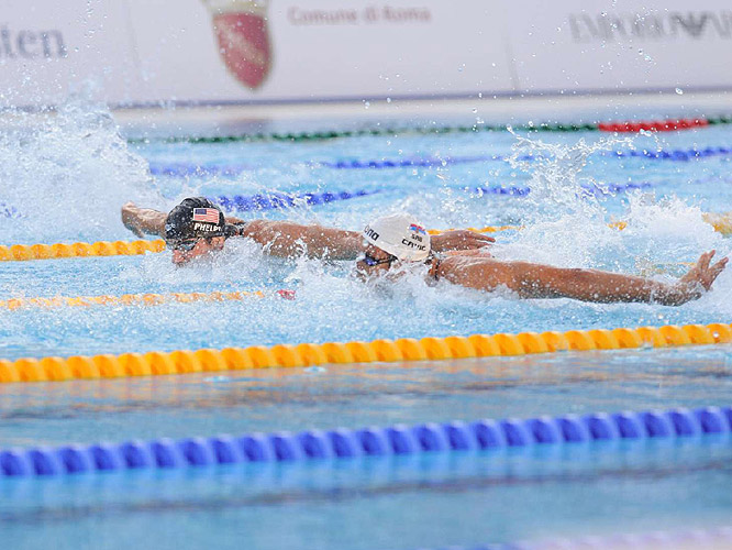 Phelps caught his rival with about 15 meters remaining.