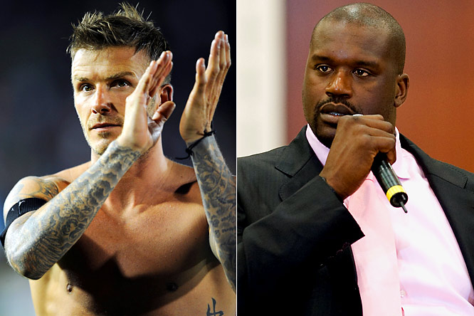 "It seems like everyone is trying to start a fight with Becks. First, Goldenballs gets into it with Galaxy fans in his first game back in L.A., and now the Big Diesel wants a piece of him. O'Neal has been calling Beckham out over Twitter to be a part of his new reality show, <i>Shaq Vs.</i>, in which he competes against other pro athletes in their sports. Shaq wants to face Becks in a penalty shootout, but the soccer star turned down the request, adding, ""I don't see him calling Kobe out. ... I think Kobe could score against him."" Ouch."