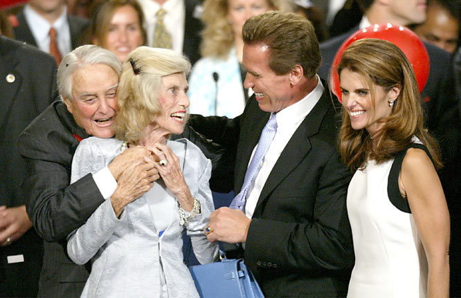 Kennedy Shriver and her husband, Robert Sargent Shriver, celebrate after Arnold Schwarzenegger is elected governor of California in 2006. The former movie star is married to Kennedy Shriver's daughter, Maria.