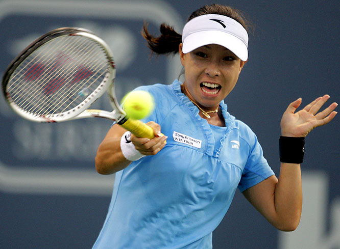 Down a break in the third set, Zheng rallied to upset top-ranked and defending champion Dinara Safina in the third round in L.A. It was the 26-year-old's first victory against the Russian in five career meetings.