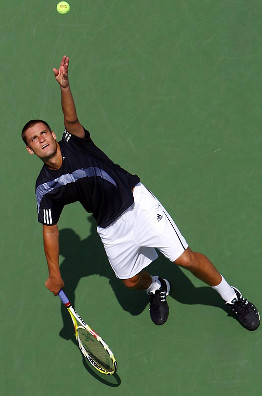 The Russian knocked out No. 26 Paul-Henri Mathieu 2-6, 7-5, 6-0, 6-2 as Mathieu became the first seeded player to fall.