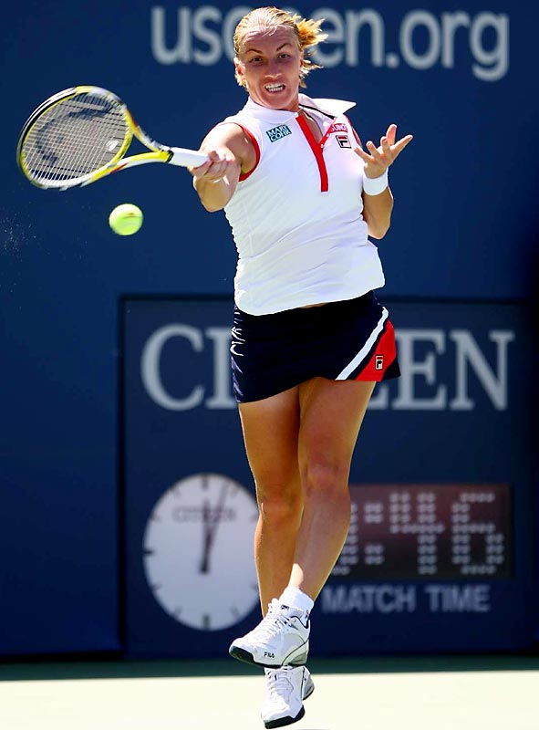 The 2004 Open champion cruised past Julia Goerges 6-3, 6-2. Kuznetova won nine of 11 games after a 3-3 start.