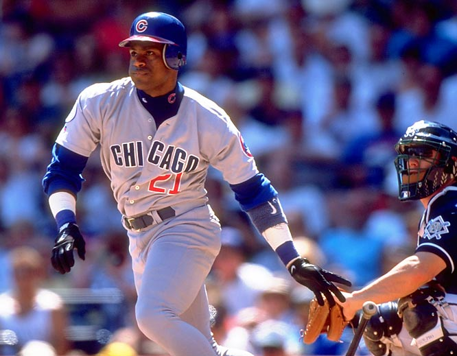 Sammy Sosa hits three home runs in consecutive at bats in the third, fourth and fifth innings, tying a Cubs' record with nine RBIs, which was first established by Heinie Zimmerman in 1911.