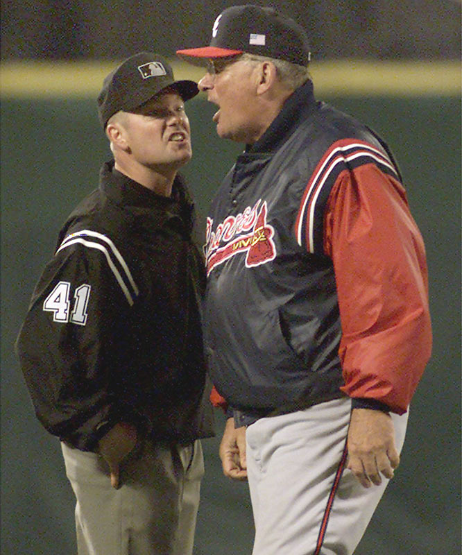 For the 132nd time in his career, Altanta skipper Bobby Cox is ejected from a major league game, breaking John McGraw's all-time ejections record.