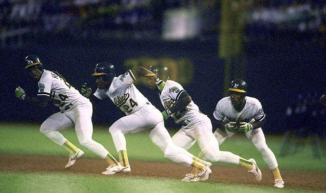 Rickey Henderson successfully steals second base in the second inning of the A's 6-4 loss to the White Sox. With the steal, Henderson sets an American League record by stealing at least 50 bases in nine seasons.