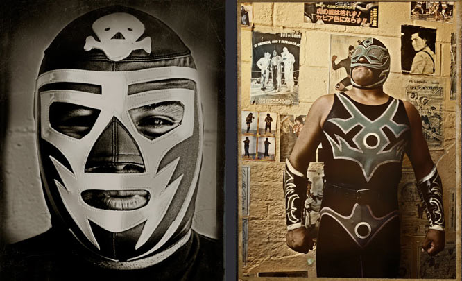 I am fascinated with Lucha Libre and have been working on portraits of Mexican wrestlers for several years. These images were taken in Tijuana, Mexico, at a school for Luchadores. Viva Santo!