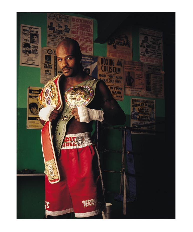 """Terrible"" Terry Norris was one of the first athletes I ever photographed. I remember setting up my 4x5 view camera in the practice gym and being very nervous. In many ways, getting the opportunity to photograph Terry launched my career as a photographer and helped me to realize what I wanted to focus on."