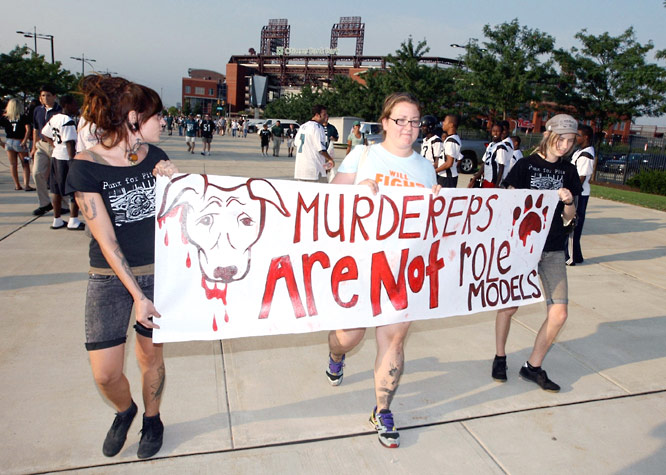 Protests played out on a small and subdued scale at the Eagles' stadium and an animal rights event across town.