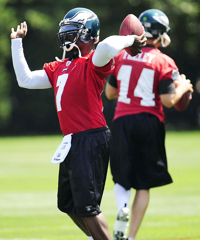 With McNabb entrenched as the starter and Kevin Kolb his backup, Reid has not ruled out the Eagles using Vick as a gimmick player rather than just a QB. Vick has eight 100-yard rushing games.