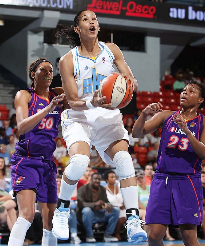 Inconsistent though they may be, the Sky -- like the Dream -- have been one of the league's big surprises. In beating Minnesota 79-76 on Saturday, Tamara Young (pictured) and the Sky moved within one win of tying their franchise record of 14 wins. Of course they lost three nights later to the Mercury 106-99, but it wasn't for lack of trying. They were leading with 4:05 to go, before the Mercury hit three straight threes to pull away down the stretch.<br><br>Next three: 8/22 vs. Detroit; 8/25 at Los Angeles; 8/28 vs. New York