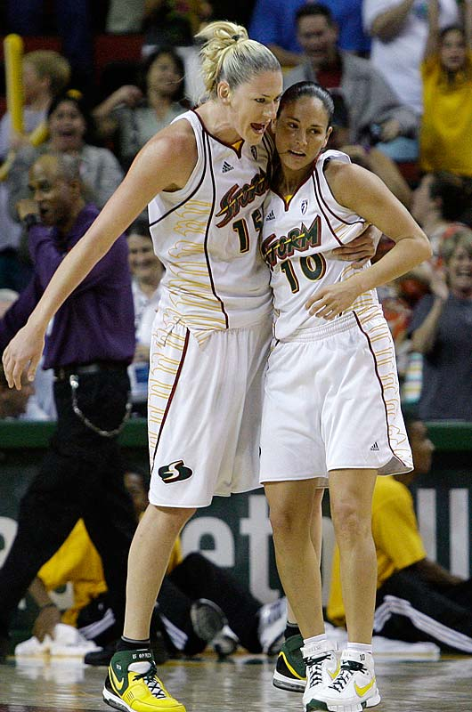 All-Star forward Lauren Jackson (pictured with Sue Bird) looks like herself for the first time since straining her Achilles tendon last month.  In her last two games, she's averaged 20.5 points and 12.0 rebounds  -- but the Storm are still treading water. After barely holding on for an 85-82 overtime victory against San Antonio, they lost to Phoenix 101-90 in overtime three days later, letting slip a golden opportunity to cut into the Mercury's three-game lead in the West. Worse, on Wednesday came news that guard Katie Gearlds will miss the next four to six weeks after tearing a ligament in her left knee on Tuesday against Phoenix. <br><br>Next three: 8/6 at Los Angeles; 8/8 vs. New York; 8/13 at Connecticut