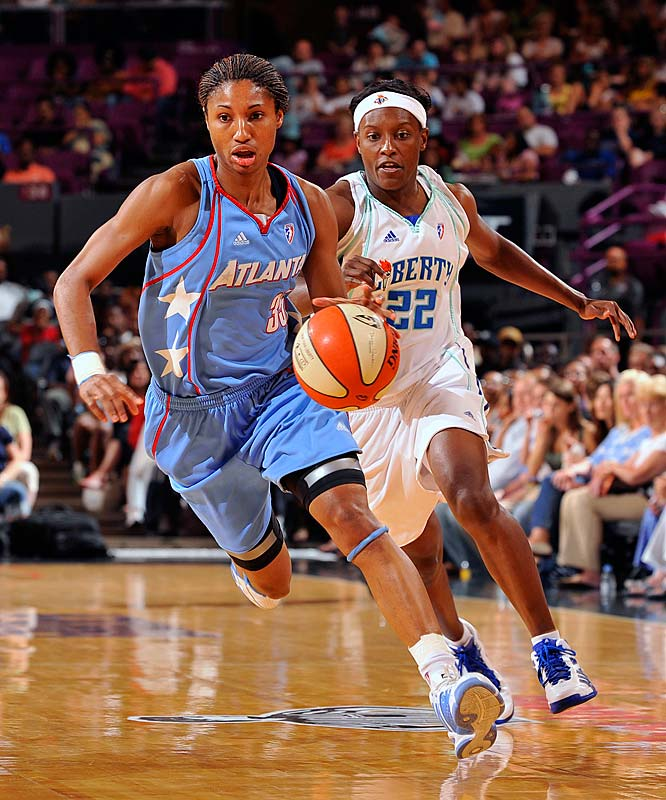 With victories against Detroit (98-95), Phoenix (106-76) and New York (89-83), the Dream notched their first ever three-game win streak. What's more, Angel McCoughtry (pictured) earned the franchise's their first rookie-of-the-month award.  The top pick in this year's draft, a 6-foot-1 product of Louisville led all rookies last month in steals with 2.0 per game and ranked third in points with 10.2 per contest.<br><br>Next three: 8/6 at San Antonio; 8/8 vs. Chicago; 8/13 vs. Detroit