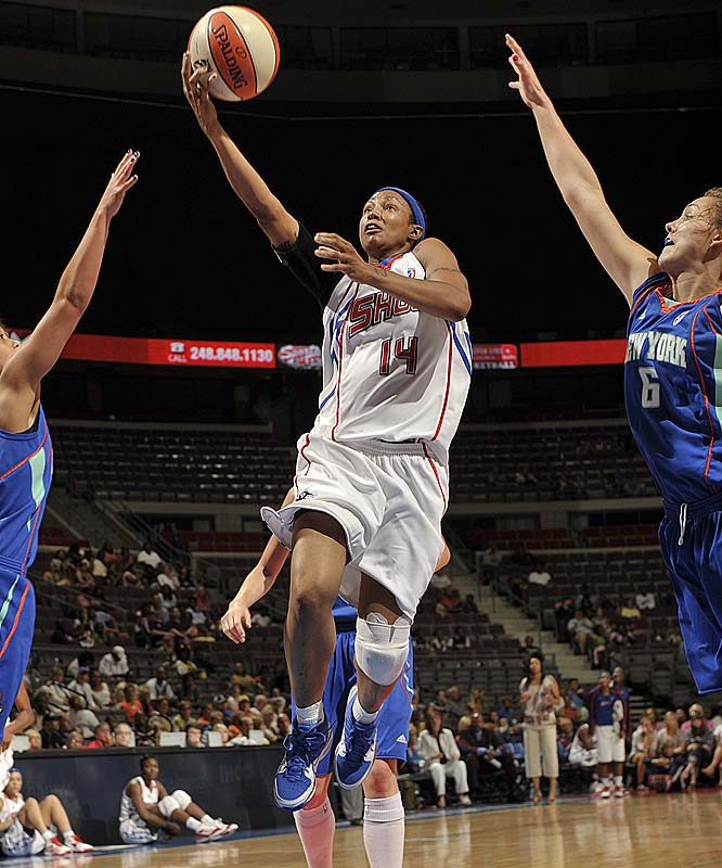 Deanna Nolan (pictured) already carried a reputation as one of the league's more prolific scorers and playmakers. Now, she's adding rebounding to her repertoire. The 5-foot-9 slasher grabbed 14 rebounds (along with 26 points and four assists) in an 83-65 thrashing of New York. Apparently, an 83-65 defeat against Connecticut at home two days earlier really lit a fire under her. ''We had to pick things up defensively [after that],'' she said. ''I was just going to go after every long rebound, and I got a lot of them.''<br><br>Next three: 8/7 at Washington; 8/9 vs. Chicago; 8/11 at Washington