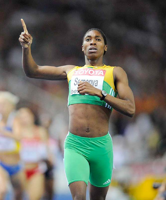 Caster Semenya, an 18-year-old South African who has been asked to take a gender test, won the 800 with a stunningly dominating run.
