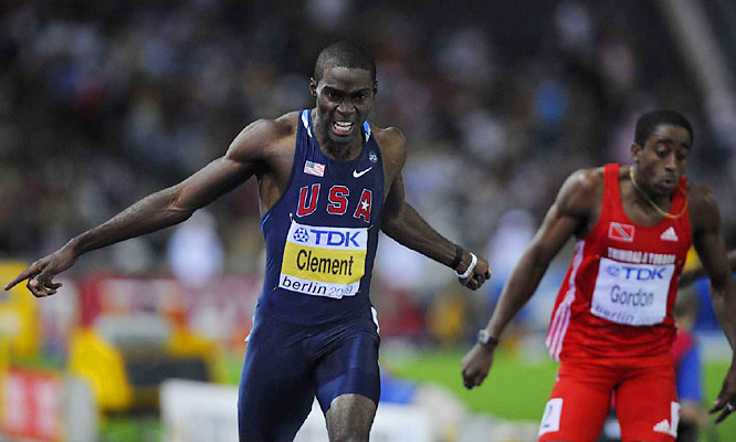 Kerron Clement successfully defended his men's 400 hurdles title, holding off a late challenge from Javier Culson of Puerto Rico.