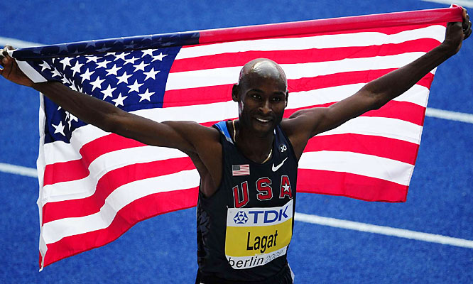 Bernard Lagat had plenty to celebrate after placing second in the 5,000-meter run. He also finished third in the 1,500.