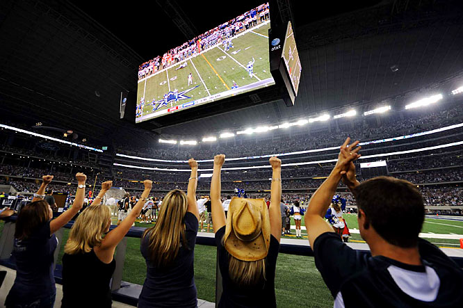 Cowboys fans who did not have a direct view of the field still could see the game on the scoreboard.