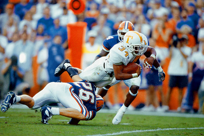 In a game delayed by the Sept. 11 terrorist attacks, massive underdog Tennessee shocked Steve Spurrier's best Florida team and stole the SEC east title. Tennessee tailback Travis Stephens rushed for 226 yards, and Florida quarterback Rex Grossman couldn't connect on a late two-point conversion that would have forced overtime.