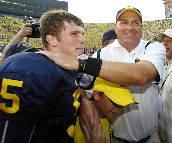 Freshman QB Tate Forcier and coach Rich Rodriguez can celebrate Michigan's first signature win since the 2008 Capital One Bowl (beating Florida). Against the Irish, Forcier accounted for 340 yards and three scores, including the game-winning TD pass with 11 seconds left.