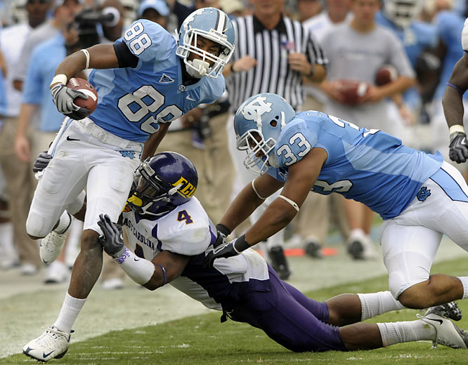 Freshman wideout Erik Highsmith (left) made six catches for 113 and a touchdown to help the Tar Heels improve to 3-0 for the first time since 1997. North Carolina quarterback T.J. Yates connected on 19 of 24 passes for 227 yards, including a 16-yard scoring strike to Highsmith and a 59-yard TD to Jheranie Boyd. Next up: at Georgia Tech.