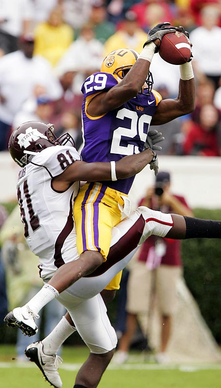 Chris Hawkins (pictured) had one of three interceptions of  Tyson Lee and the Tigers stopped the Bulldogs quarterback on fourth and inches in the closing minute to preserve a hard fought victory. It was LSU's 10th straight victory over Mississippi State.