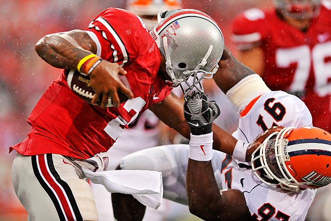 Terrelle Pryor and the Buckeyes won their Big 10 opener by shutting out the Illini. Pryor overcame this facemask infraction against Clay Nurse and a first half in which he had no passing yards, to finish with 59 yards rushing and 82 in the air, including a two-yard TD toss to Dane Sanzenbacher.