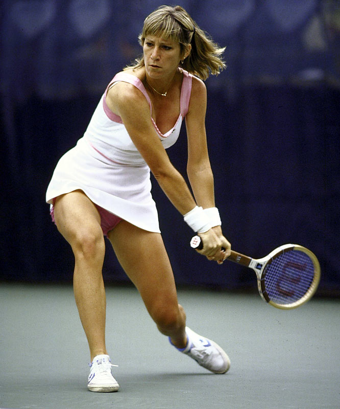 Chris Evert Lloyd strikes a backhand during a quarterfinal match at the 1980 U.S. Open. Lloyd would go on to capture the title, marking her fifth of six Open championships.