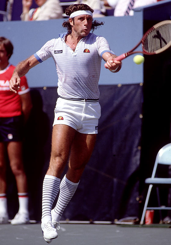 Guillermo Vilas of Argentina strikes a forehand during the '82 Open.