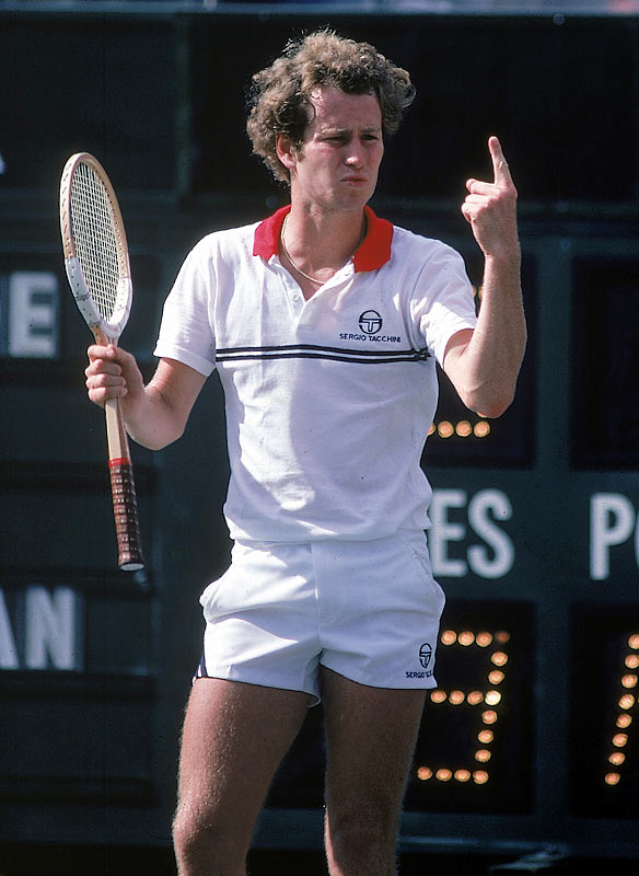 John McEnroe lets the crowd know he is No. 1 during a break in action at the 1981 U.S. Open.