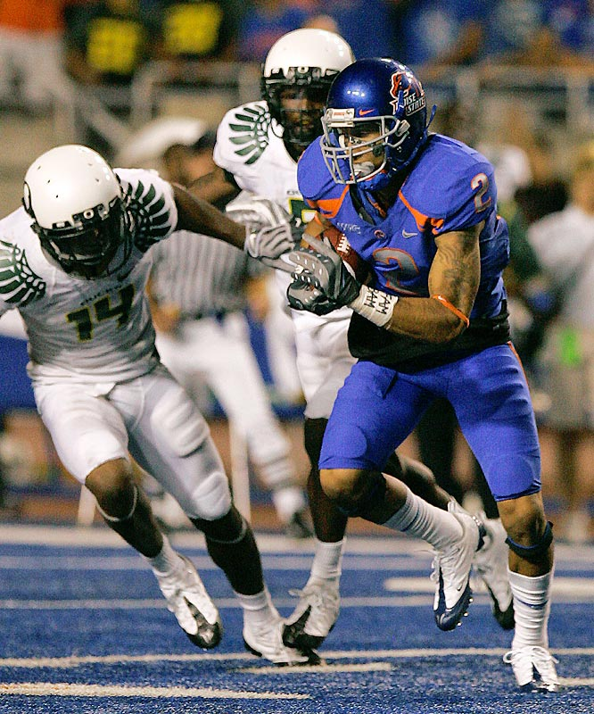 Austin Pettis (right) and Boise State cleared a major obstacle in their bid for a BCS berth in beating the Ducks. But the game was marred by LeGarrette Blount's postgame antics.