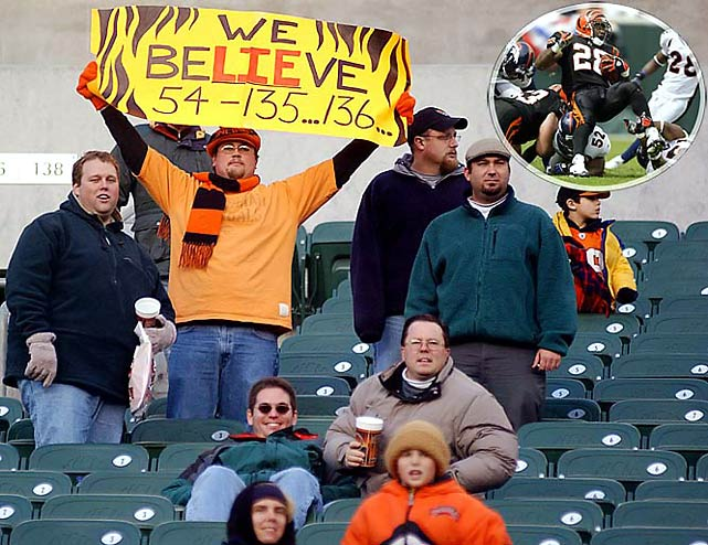 Called the Bungles for obvious reasons, Cincinnati's tiger-striped squad went 14 seasons without seeing the playoffs, and only two .500 campaigns (1996 and 2003) kept them from joining the Bucs in the NFL record book. Inset is Corey Dillon (1997-03 Bengals).