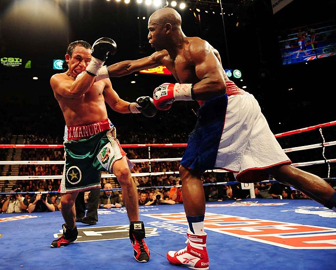 Mayweather weighed in two pounds over the agreed upon 144-pound catchweight, and reportedly had to pay Marquez $600,000 as a result.