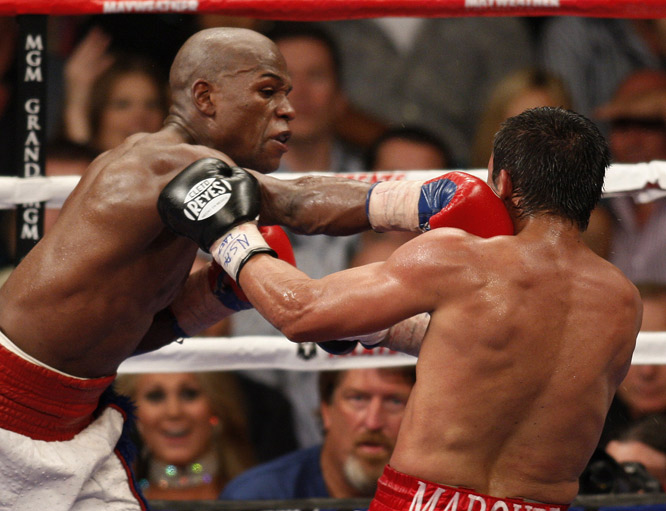 Mayweather landed 290 of his 493 blows (59 percent), while Marquez landed only 12 percent of his 583 punches.