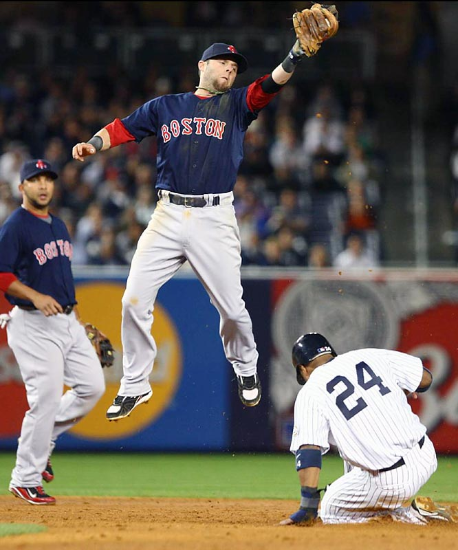 The Red Sox's Dustin Pedroia leapt for a high throw and was unable to get the tag on to the Yankees' Robinson Cano. The Yankees stole seven bases in the game.