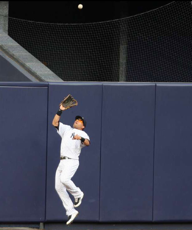 Melky Cabrera made a nice third-inning catch on a hard hit ball by Jed Lowrie.