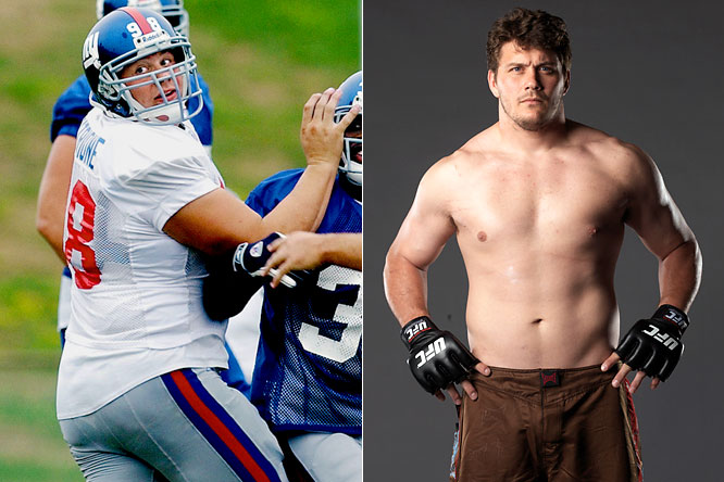 Mitrione, a backup defensive lineman for the Giants, spent three years in the NFL before leaving because of injuries. He competed on the upcoming season of <i>The Ultimate Fighter</i>.