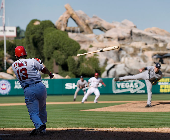 Los Angeles Angels' Maicer Izturis loses his bat and strikes out against the New York Yankees during the eighth inning of a baseball game in Anaheim, Calif., Wednesday, Sept. 23, 2009. The Yankees won 3-2.