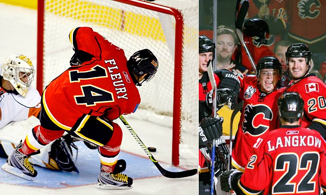 During his first preseason game, Fleury was welcomed by the fans in Calgary with standing ovations and he responded by scoring the game-winning goal in a shootout with the New York Islanders. He added a goal and assist in his second game, against the Florida Panthers on Sept. 20, but the fairy tale ended on Sept. 25 when he was released even though he'd said he was willing to play for Calgary's AHL farm team in Abbotsford. Flames GM Darryl Sutter said Fleury should be proud of his performance.